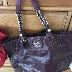 Coach dark purple tote